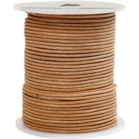 Leather Cord, thickness 2 mm, beige, 50 m/ 1 roll