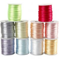 Satin Cord, thickness 2 mm, pastel colours, 10x50 m/ 1 pack