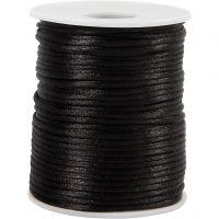 Satin Cord, thickness 2 mm, black, 50 m/ 1 roll