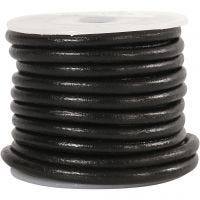 Leather Cord, thickness 4 mm, black, 5 m/ 1 roll