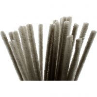 Pipe Cleaners, L: 30 cm, thickness 9 mm, grey, 25 pc/ 1 pack