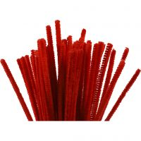 Pipe Cleaners, L: 30 cm, thickness 6 mm, red, 50 pc/ 1 pack