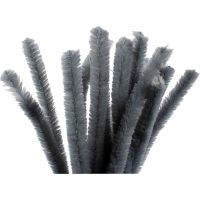 Pipe Cleaners, L: 30 cm, thickness 15 mm, grey, 15 pc/ 1 pack