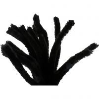 Pipe Cleaners, L: 30 cm, thickness 15 mm, black, 15 pc/ 1 pack