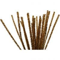 Pipe Cleaners, L: 30 cm, thickness 6 mm, glitter, gold, 24 pc/ 1 pack
