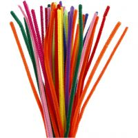 Pipe Cleaners, L: 30 cm, thickness 6 mm, assorted colours, 50 asstd./ 1 pack