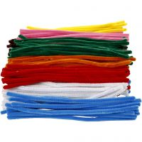 Pipe Cleaners, L: 30 cm, thickness 9 mm, assorted colours, 200 asstd./ 1 pack
