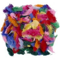 Feathers, size 7-8 cm, assorted colours, 50 g/ 1 pack