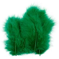 Feathers, size 5-12 cm, green, 15 pc/ 1 pack