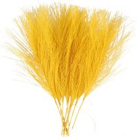 Artificial feathers, L: 15 cm, W: 8 cm, yellow, 10 pc/ 1 pack
