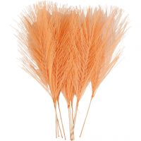 Artificial feathers, L: 15 cm, W: 8 cm, orange, 10 pc/ 1 pack
