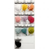 Artificial feathers, L: 15 cm, W: 8 cm, assorted colours, 10x10 pack/ 1 pack
