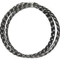 Aluminium Wire, diamond-cut, thickness 2 mm, black, 7 m/ 1 roll