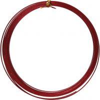 Aluminium Wire, flat, W: 3,5 mm, thickness 0,5 mm, red, 4,5 m/ 1 roll