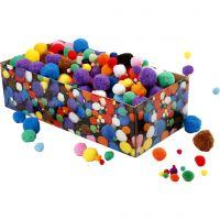 Pompoms, D: 5-40 mm, assorted colours, 220 g/ 1 pack
