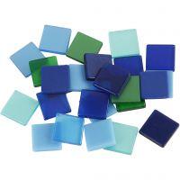 Mini Mosaic, size 10x10 mm, blue/green harmony, 25 g/ 1 pack