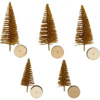 Christmas Spruce Trees, H: 40+60 mm, gold, 5 pc/ 1 pack