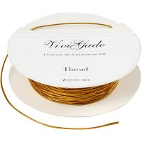 Thread, thickness 0,5 mm, gold, 10 m/ 1 roll