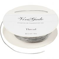 Thread, thickness 0,5 mm, silver, 10 m/ 1 roll
