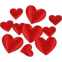 Satin Hearts, size 10+20 mm, red, 70 pc/ 1 pack