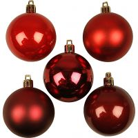 Christmas Ornaments, D: 6 cm, red harmony, 20 pc/ 1 pack