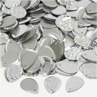 Sequins, raindrop, size 14x19 mm, silver, 50 g/ 1 pack