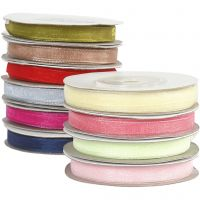 Organza Ribbon, W: 6 mm, assorted colours, 10x20 m/ 1 pack