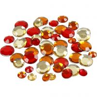 Rhinestones, round, size 6+9+12 mm, red harmony, 360 pc/ 1 pack