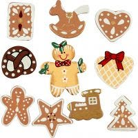 Wooden Shapes, H: 20-30 mm, 10 pc/ 1 pack