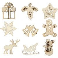 Wooden decorations, christmas, size 28 mm, 45 pc/ 1 pack