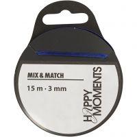 Satin Ribbon, W: 3 mm, dark blue, 15 m/ 1 roll