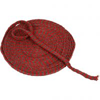 Knitted Tube, W: 10 mm, christmas red/grey, 10 m/ 1 roll