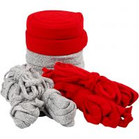 Knitted Tube, W: 10-40 mm, Content may vary , grey, red, 50 m/ 1 pack