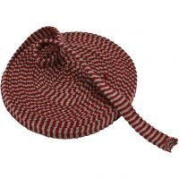 Knitted Tube, W: 22 mm, antique red/grey, 10 m/ 1 roll