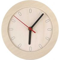 Watch With Wooden Frame, D: 15 cm, 1 pc
