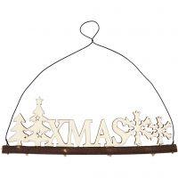 Christmas decoration, XMAS, H: 7 cm, depth 0,5 cm, W: 22 cm, 1 pc
