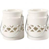 Lantern, H: 8 cm, D: 6,2 cm, 2. sort, white, 6 pc/ 1 box