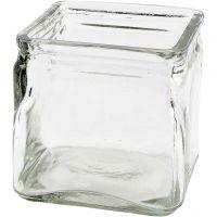 Square Candle Holder, H: 10 cm, size 10x10 cm, 12 pc/ 1 box