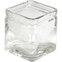 Square Candle Holder, H: 8 cm, size 7,5x7,5 cm, 12 pc/ 1 box