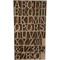 Wooden Letters, Numbers And Symbols, H: 13 cm, thickness 2 cm, 160 pc/ 1 pack