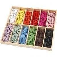 Mini Clothes Peg, L: 25 mm, W: 3 mm, assorted colours, 12x24 pc/ 1 pack