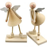 Wooden Cone Angels, H: 15 cm, 2 pc/ 1 pack