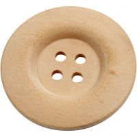 Wooden Buttons, D: 40 mm, hole size 3 mm, 4 holes, 6 pc/ 1 pack