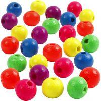 Neonmix Wooden Beads, D: 8 mm, hole size 2,5 mm, 50 g/ 1 pack