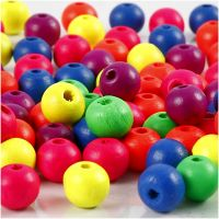 Neonmix Wooden Beads, D: 8 mm, hole size 2,5 mm, 500 g/ 1 pack