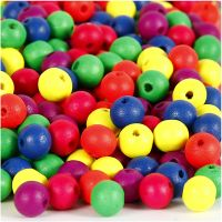 Neonmix Wooden Beads, D: 10 mm, hole size 2,5 mm, 500 g/ 1 pack