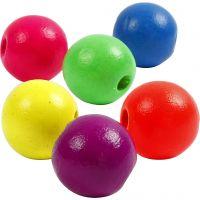 Neonmix Wooden Beads, D: 16 mm, hole size 3 mm, 50 g/ 1 pack