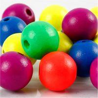 Neonmix Wooden Beads, D: 16 mm, hole size 3 mm, neonmix, 16 g/ 1 pack