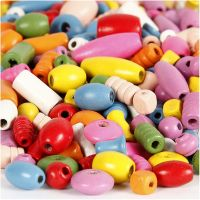 Wooden Beads, size 5-17 mm, hole size 1-4 mm, assorted colours, 1000 g/ 1 pack