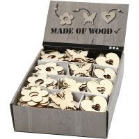Wooden Ornament, flower, butterfly, heart, size 6 cm, thickness 3 mm, 200 pc/ 1 pack